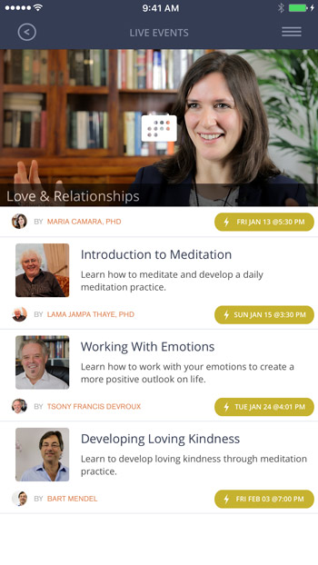 Mindworks offers live events to learn from a meditation instructor how to practice
