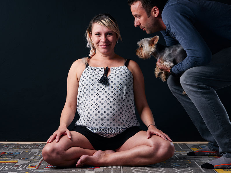 Meditate at home even when pregnant with a husband and dog!